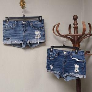 2 pair Aeropostale Shorty Jean Shorts size 6